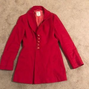 Red size large button up long coat